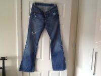 River island bootcut, distressed ripped jeans, size 10, washed out denim