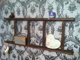 reclaimed ladder shelves industrial vintage style