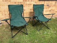 TWO USED GREEN OUTDOOR FOLDING CAMPING GARDEN FESTIVAL FISHING CHAIRS