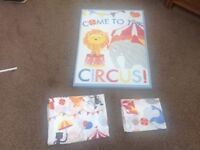 Circus themed single duvet set and matching large canvas