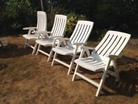 4 RECLINING WHITE HEAVY DUTY GARDEN CHAIRS WITH CUSHIONS