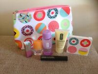 CLINIQUE COSMETIC BAG AND PRODUCTS