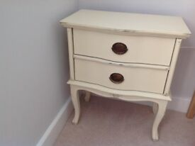 Georgian style small two drawer cream cabinet