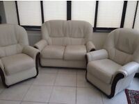 Cream Leather 2 Seater Sofa and 2 Chairs