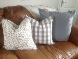 8 X Cushions by IKEA, grey, 4 large linen with ties, 2 feather med check, 2 feather med floral