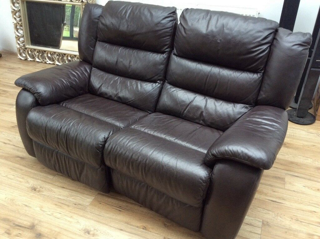 Full Leather Electric Reclining Sofa In Derby
