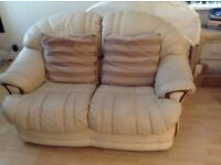 3 and 2 cream seater sofa leather