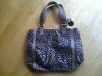 BRAND NEW WITH TAGS Leather Leopard Animal Faux Fur Print Handbag Shoulder Bag