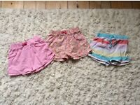 3x pairs of summer girls shorts, great condition