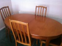 beech coloured dining table & 4 chairs