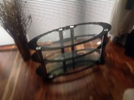 """Tv table , glass and chrome , 100 cm x50cm ( 39"""" x 20"""" ) as good new,"""