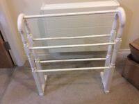 Wooden white towel rail, free standing