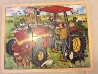 Wooden farm tractor puzzle jigsaw
