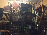 Job lot of 40 vintage dining chairs