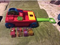 Fisher Price Peek A Boo With Sensory Bricks 2 in 1 Pull Along Musical Truck