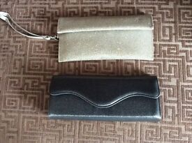 X2 small clutch bags .1. gold 1.silver grey