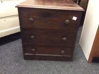 Vintage mahogany 3 drawer chest