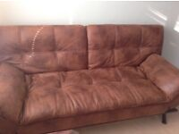 Brown leather style sofa bed