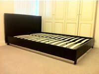 ***New*** 4.6 FT Double Bed in Black PU Leather with Headboard Stitching Design