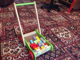 Push along wood cart with bricks