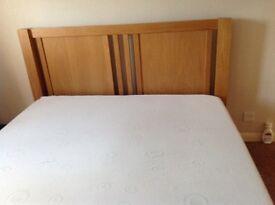 Oak king size bed & mattress