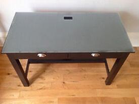 Glass top, real wood desk (black)