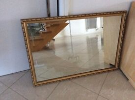 Gold Bevelled Edge Mirror in Excellent like New Condition