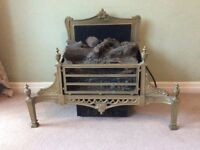 Ornate Solid Brass Electric Fire, Cast Grate Log Burner Stove Oven