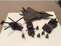 Lego style Army set . Jet plane ,helicopter,Army jeep and truck and characters in lego style