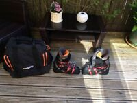 ski boots, mens very good condition. Saloman make, complete with carrying bag.