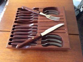 Teak steak knife and fork set