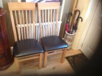 Furniture Village Solid Oak Dinind Table and 4 Solid Oak High Back Chairs