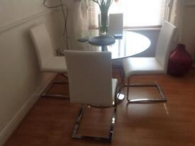 White dining table Chairs , faux leather good condition