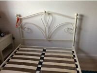 Small double bed (4 ft) frame with mattress and bedding