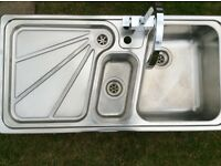 Blanco stainless steel sink top and contemporary chrome tap