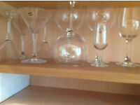 Set of cocktail and wine glasses