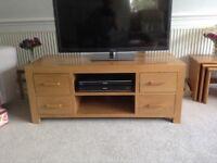 Television unit in light oak