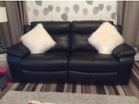Black recliner sofa with 2 matching electric armchairs