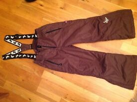 Girls ski trousers, size 128cm, brown with butterfly braces