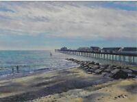 Early morning bathers , Southwold pier . Original oil painting by Tim Ball