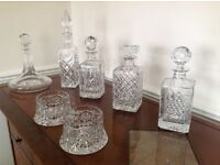 Five Cut Glass Decanters and Wine Bottle holders