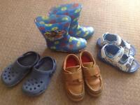 Boys size 9 shoes, sandals, wellies and jelly shoes