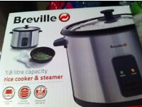 Breville 1.8 Litre Rice Cooker and Steamer Stainless Steel Keep Warm Non Stick