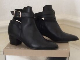 Kurt Geiger size 7 black leather ankle boots, perfect condition