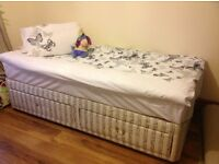 Good condition with quality mattress (just one handle missing-easy to fix:)) Waiting for offers.