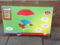 Childrens picnic bench & umbrella