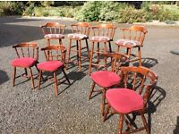 Bar stools and matching chairs 4 of each hardly used hardwood with fabric seats