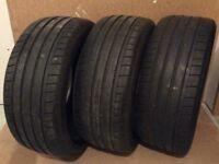 3 x part worn Dunlop sport maxx gt 225x40x18 92y tyres