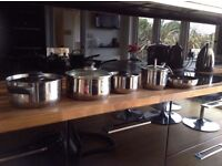 Stainless Steel Saucepans and Frying Pan