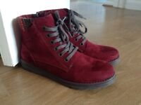 New Ladies Claret Marco Tozzi Ankle Boots Size 7